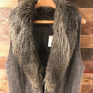 Chico's long faux fur grey vest size 1